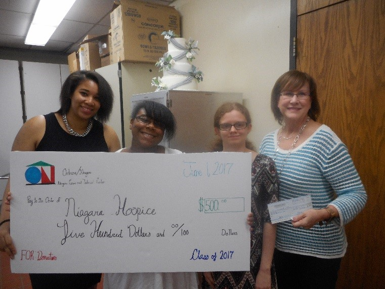 Pictured left to right are culinary arts students Dayona Adams, Natasha Fair, Caitlin Harvey, and Patricia Degan of Niagara Hospice.
