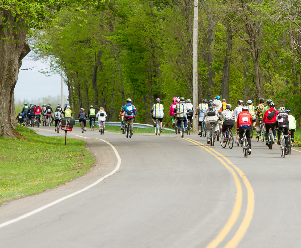 Riders take off at the start of last year's Gran Fondo bicycle ride to benefit Niagara Hospice.