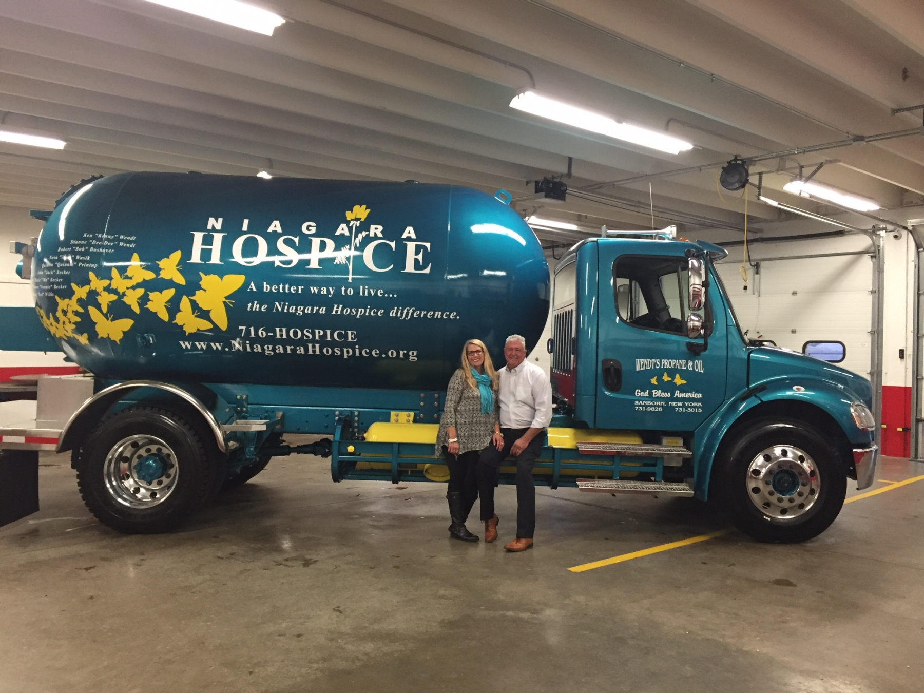 Sue and Paul Wendt unveiled the newest Wendt's Propane & Oil Truck that has been custom designed to also serve as a Niagara Hospice billboard on wheels.