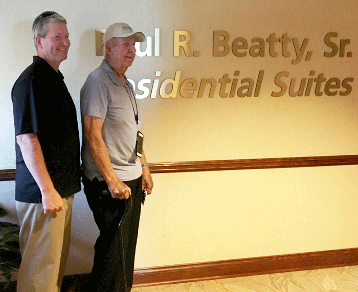 L-R: Paul Beatty, Jr. stands proudly with dad, Paul R. Beatty, Sr. after the unveiling of the Paul R. Beatty Residential Suites at Niagara Hospice House.