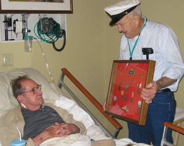 Navy Veteran and Niagara Hospice Volunteer, Gene Brayley visited with Army Veteran Ralph Bishop during his stay at Niagara hospice House. Ralph served guarding both Presidents Truman and Eisenhower.