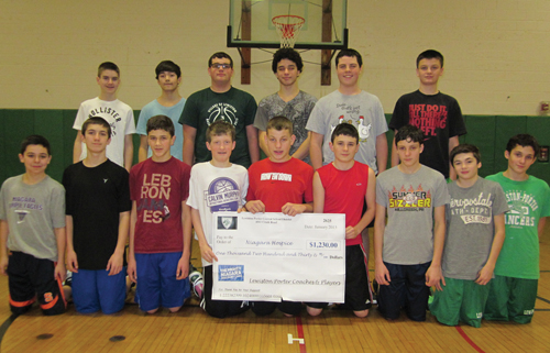 The Lew-Port modified basketball team is proud to present a donation of $1,230 to benefit Niagara Hospice. Shown left to right are (front row) Theo Noah, Dylan Zutel, Nick Christman, Liam Brennen, Dawson Bailey, Stephen Mansour, Nate Waterstram, Jeremy Saunders, and Gabe Colangelo. Back row - Brian Muller, Evan Wyno, Kyle Ullery, Dylan Morrissette, Stephen Dillon, and Dylan Milbrand.